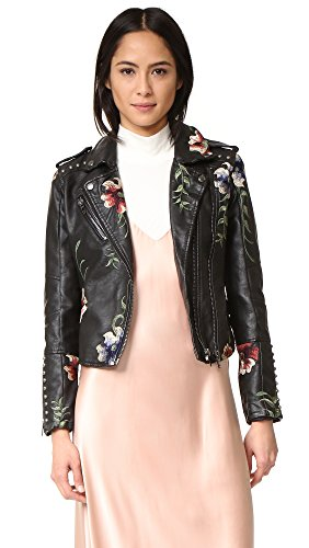 [BLANKNYC] Blank Denim Women's Embroidered Moto Jacket, As You Wish, Medium