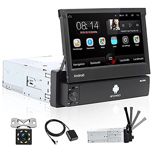 Hikity Android 1 DIN Radio de Coche Navegación GPS Autoradio Bluetooth 7 Pulgadas Pantalla Táctil Abatible Estéreo de Coche con FM WiFi Enlace Espejo + Cámara Visión Trasera