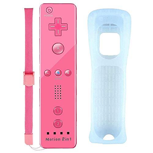 HOTSO Motion Plus Remote Controller für Wii und Wii U, Wireless Wii Controller Motion Plus Fernbedienung für Nintendo Wii und Wii U + Silikonhülle und Handschlaufe
