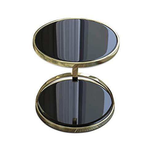 Beistelltisch Couchtisch Sofatisch Wohnzimmertisch Round Beistelltisch, moderne und stilvolle schwarzen Glas Beistelltisch Retro Tabelle Sofa Beistelltisch Couchtisch mit Stauregal ( Color : Black )