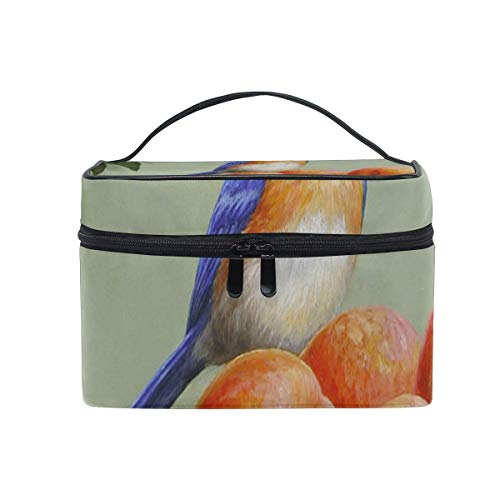 Trousse de maquillage Blue Bird and Peaches Cosmetic Bag Portable Large Toiletry Bag for Women/Girls Travel