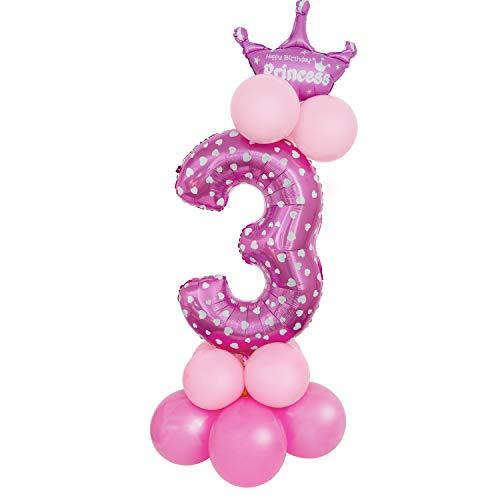 Comius Sharp Globo Número Gigante, 32 Pulgadas Globo Número Cumpleaños para Fiesta de cumpleaños y Aniversarios (Pink Number 3)