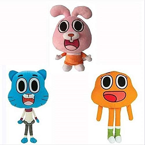 mingyang Juguete de Peluche 3pcs 25cm Cartoon Gumball Plush Doll Cute Cat Bunny Stuffed Toy Regalo de cumpleaños Regalos para niños Niños