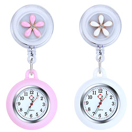 Vicloon Reloj de Enfermera con Broche, 2 Piezas Reloj de Bolsillo para Enfermera con Broche para Reloj Paraméd Nurse Fob, Retráctil Enfermería Fob Relojes, Regalo para Enfermera Doctor