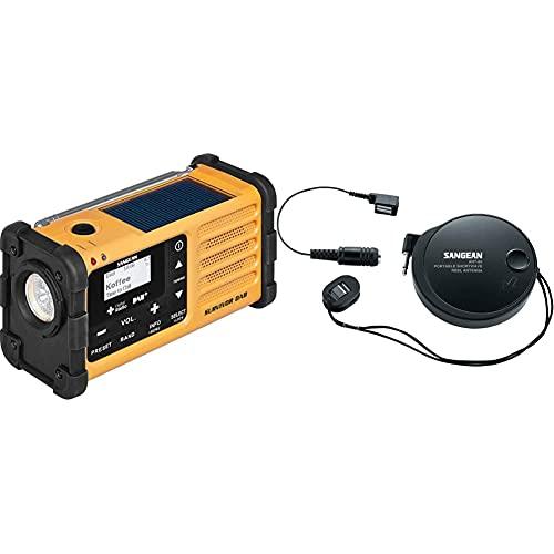 Sangean MMR-88 Survivor M8 Radio - Tragbares Notfall Radio - Kurbelradio mit Notsummer Taschenlampe - Schwarz/Gelb & ANT-60 Kurzwellen-Antenne | Abnehmbare Antenne | Zertifiziertes Qualitätsprodukt |