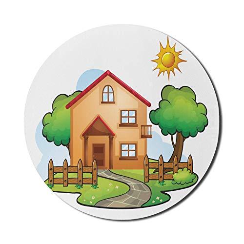 Cartoon-Mauspad für Computer, Illustration eines Hauses mit hölzernen Zäunen und Bäumen Hand gezeichnetes Gebäude-Design, rundes rutschfestes dickes Gummi-modernes Gaming-Mauspad, 8 'rund, mehrfarbig