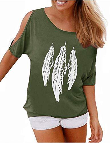 GNRSPTY Mujer Casual Camiseta Manga Corta Sin Tirantes Verano Estampado de Plumas Suelto T-Shirt Tops,Verde,XL