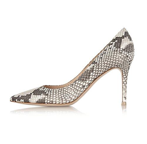 EDEFS Damen Stiletto Schlangenmuster Pumps Sexy Neutral Snake Geschlossene Schuhe Größe EU38