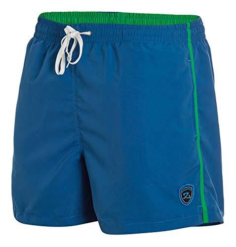 Zagano Milan - Costume da bagno da uomo, con tasche laterali, tasca posteriore, pantaloncini alla moda, per il nuoto, il tempo libero, per sport acquatici, colore blu denim, taglia 3XL