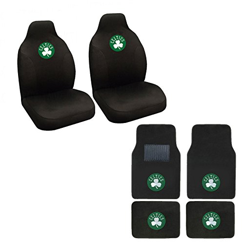 MB Wheels NBA Celtics Seat Cover and Floor mat. Wow! Celtics Logo On Front and Rear Auto Floor Liner. Universal Fit High Back Seat Cover Promptly Display Celtics Spirit