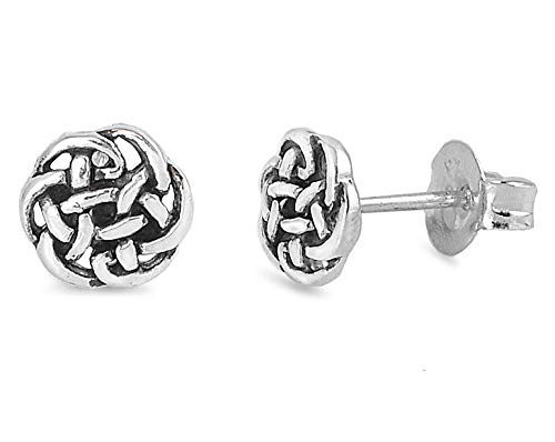 Sterling Silver Celtic Knot Stud Earrings - 7mm