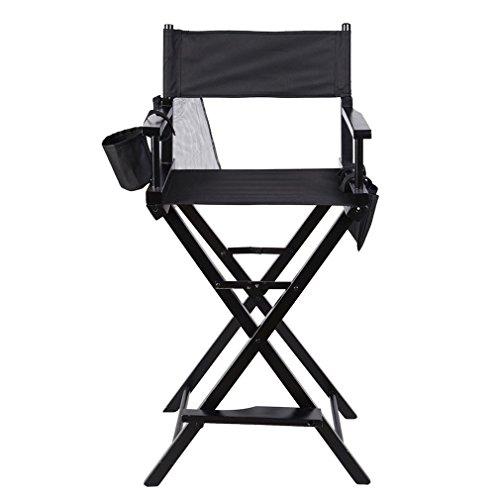 U-Kiss Regiestuhl Klappbar mit Fußablage,Make-up Chair faltbar, Klappstuhl Holz, Faltstuhl mit Seitentaschen, Campingstuhl schwarz Regiestuhl hoch,