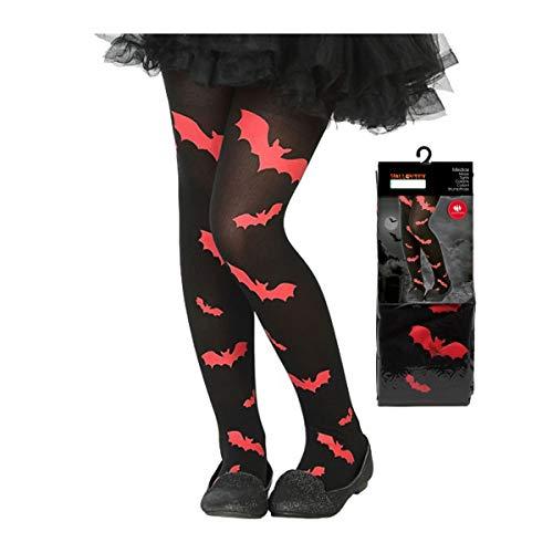 LEMON TREE SL Medias Negras de Halloween para Disfraz de niño o niña diseño Murcielago Rojo. Accesorio Cosplay Halloween Calcetín Medias Murcielago Rojo