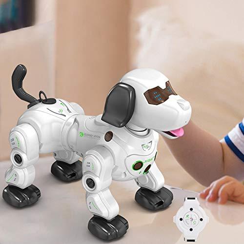 knowledgi Robot para perros con control remoto, juguete para niños con detección de gestos, Robot RC programable, animal doméstico electrónico con ojos LED, puede balar y cantar
