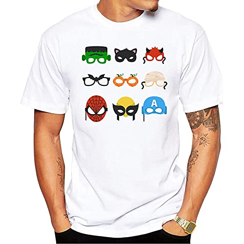 2019 Men's Funny Cartoon Masks T Shirt Summer Cool Design Tops Soft Short Sleeve tee T-Shirt Harajuku Streetwear White