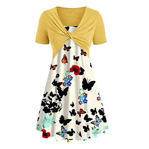Damen Kleid Minikleid mit V-Ausschnitt Kurze Strand Freizeitkleider Sommerkleid Druck Loose Kleid Minikleid(Gelb,XL)