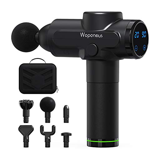 WAPANEUS Electric Massage Gun Deep Tissue Percussion 6 Heads 20 Speed Level Cordless Portable Handheld Body Massager Sports Drill Relieving Muscle Pain, Soreness, and Stiffness (Grey)