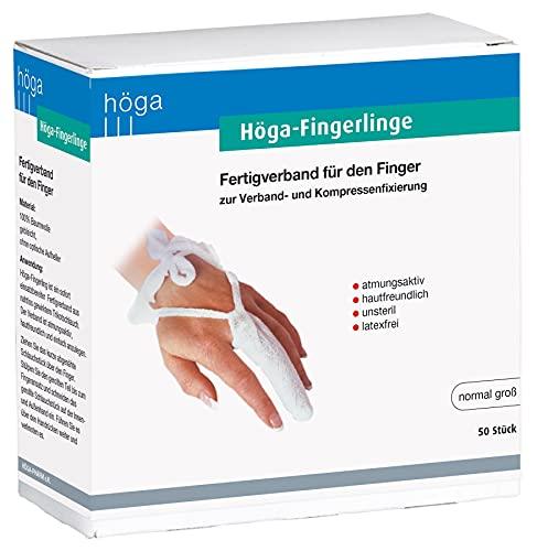 Höga Fingerlinge, normalgroß, 50 Stück. Fertigverband für Finger und Zehen.