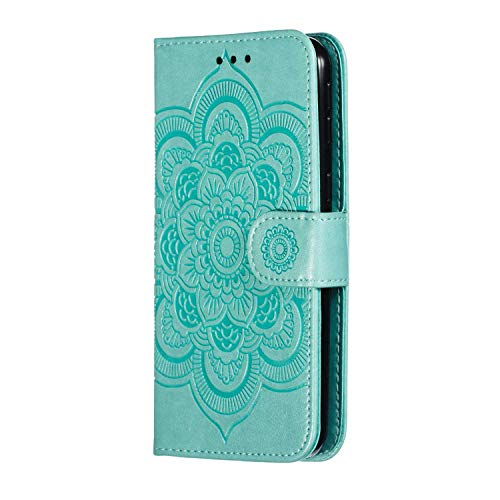 Bear Village® Blumen Muster Hülle für Samsung Galaxy A2 Core, Premium Schutzhülle mit Weich TPU Innere, Magnet Klapp Ständer Leder Hülle, Grün