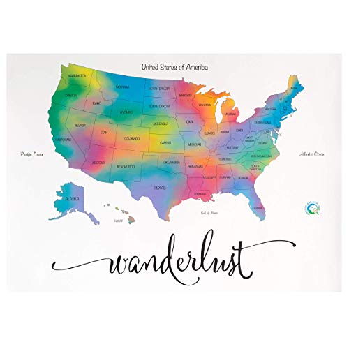 Scratch Off Map of The United States- Super Size | Deluxe Watercolor Wanderlust Edition | XL Size 24' x 36' | Easy to Frame | Beautiful Wall Art | Perfect Travel Gift | Includes Scratch Off Tools