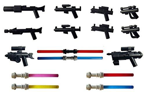 Little Arms 10x Des Armes, 2x Sabres Laser Double Et 4x Sabres Laser Simple Pour Les Minifigures