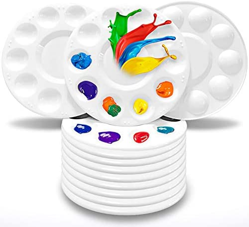 Hulameda Paint Tray Palettes, Plastic Paint Pallets for Kids or Students to Paints on School Project or Art Class-12pcs
