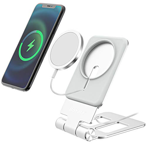 Stand Compatible with MagSafe Charger, Boyata Adjustable Wireless Charger Stand Aluminum Alloy Foldable Phone Stand Designed for Apple MagSafe (Square)