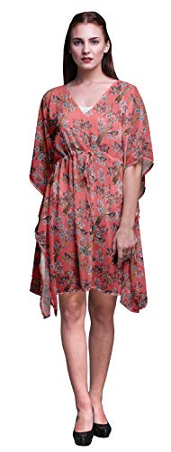 Bimba Dark Peach Bird Blue Floral & American Robin Womens Short Beach Kaftan Beachwear Bikini Coverup Midi Dress-S-L