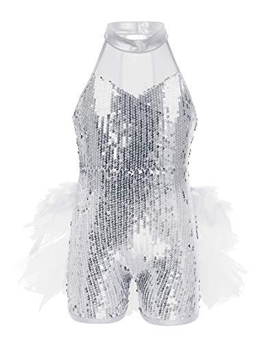 TiaoBug Maillots de Danza Ballet Gimnasia Niñas Tutú Vestido con Lentejuelas Brillos Cuello con Mallas Leotardo Bodys Básico para Danza Jazz Fiesta Actuación Blanco 8-10 Años