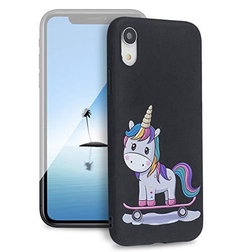 "Huphant Kompatibel mit iPhone XR 6.1"" Hülle, Silikon Handyhülle für iPhone XR 6.1"" Case Stoßstange Gemaltes Tier Non-slip Anti-gelb Ultradünn Silikon Case -Einhorn"