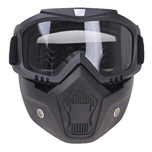 Rétro Casque De Moto Lunettes Masque Professionnel Vintave/Casque Open Face/5 Couleurs Disponibles,Clear