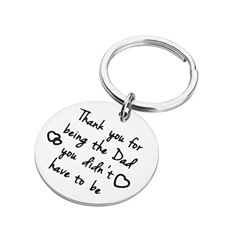 Father's Day Gifts Keychain for Step Dad Thank You for Being The Dad You Didn't Have to Be Personalized Birthday Wedding Keyring Gift for Dad Stepfather of Bride Groom from Daughter Son Kids