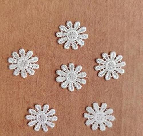 100 Piezas 1.6cm Ancho Rojo Verde Bordado Floral Encaje Adorno Apliques Parches Recorte Suministros de costura para mujeres-blanco 20 mm