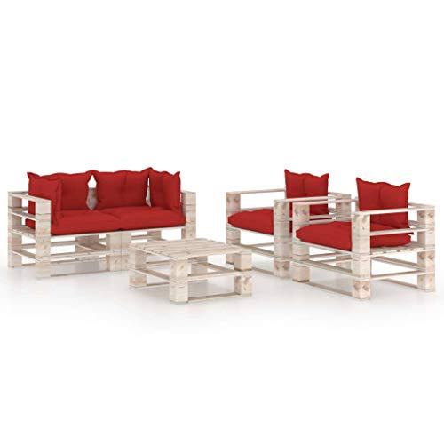 vidaXL Madera Pino Juego de Muebles de Jardín de Palés 5 Piezas Cojines Mobiliario Hogar Terraza Exterior Asiento Sofá Mesa con Respaldo Suave