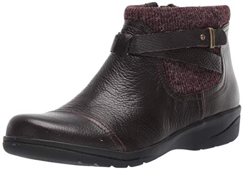 Clarks Women's Cheyn Kisha Ankle Boot, Dark Brown Tumbled Leather/Textile, 80 M US