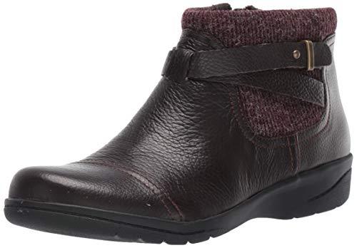 Clarks Women's Cheyn Kisha Ankle Boot, Dark Brown Tumbled Leather/Textile, 85 M US
