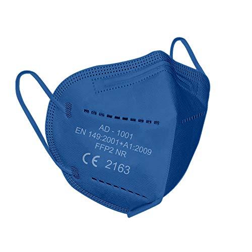 Lexuslance - 20 blaue FFP2 CE-Einfassungen Europäische Zertifizierung EN149: 2001 + A1: 2009 EU 2016/42. Mode, Schönheit und Sicherheit koexistieren. (4 versiegelte Beutel mit 5 Masken)