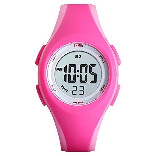 Zwbfu 1459 Luminoso 5ATM Impermeable Digital Reloj Deportivo para niños Alarma Calendario Semana Fecha Hora Reloj de Pulsera para Adolescente con Correa de PU