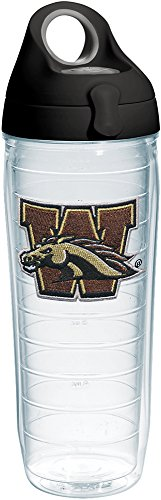 Tervis Western Michigan Broncos Primary Logo Insulated Tumbler with Emblem and Black with Gray Lid, 24oz Water Bottle, Clear