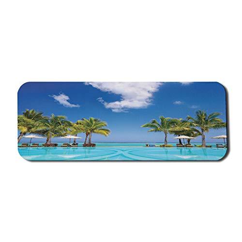Coastal Computer Mouse Pad, tropischer Strand im Mauritius-Pool und Sonnenliegen mit Kokospalmen, rechteckiges rutschfestes Gummi-Mauspad großes blaues Aquagrün
