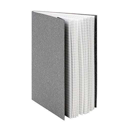 Kraftpapier 5 mm kariert Notizblock Gitter Übungsbücher Hardcover Journal Schreibwaren Notizblock Koordinate Graph Papier Notizbuch für Mathematik Arbeit Zeichnen Schreiben persönlicher grau
