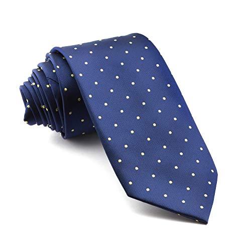 Cencibel Smart Casual Corbata Lunares o Topos (Fondo Azul Marino Lunares Amarillo)