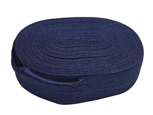 Bowtique Emilee 1' Elastic 10 yards Spool, Fold Over Elastic for Headbands, Hair Ties or other Sewing Projects (Navy Blue)