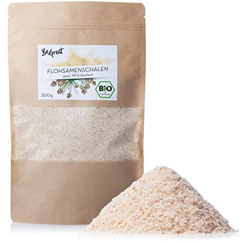 BIO Flohsamenschalen: 200g Bio Flohsamen ganz in Premium Qualität – Original Indische Flohsamenschalen Naturrein, Vegan, Glutenfrei – Flohsamen Schalen aus Indien – Indische Flohsamen Bio von BeGreat