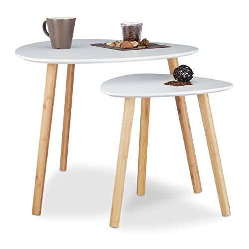Relaxdays 10020988 Set 2 Tavolini Sovrapponibili da Salotto, Design Nordico, Sgabello per Fiori, Bianco