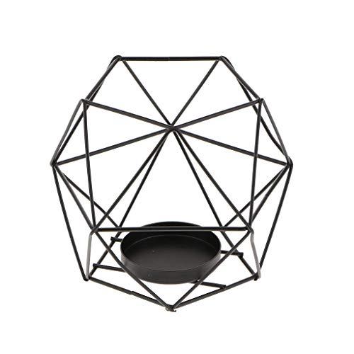 Garden seeds Wire Iron Geometric Candle Holder TEALIGHT Mood Light Holder Lantern Decor Window Box Planter Holder 2 in 1 - Black