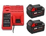 2X M18 M18B XC 18V 5.0Ah Batería con Cargador M12-18C para Milwaukee M18 48-59-1812, 48-59-1807, 48-59-1806, 48-59-1840 14,4-18V Li-ion