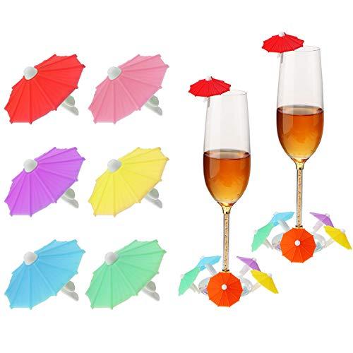 18 Pezzi Marcatori di Bevande Ombrello Marcatori per Bicchieri da Vino a Ombrello Ciondolo in Silicone per Bevande con Ombrello Pennarelli da Cocktail a Ombrello Multicolore
