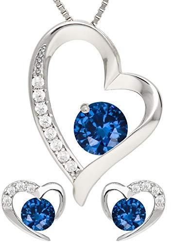 KianaLice Blue Heart 925 Sterling Silber Schmuckset mit Saphir Blau Zirkonia Stein bestehend aus Herz Anhänger, Ohrstecker und 45 cm Damen Halskette im Etui