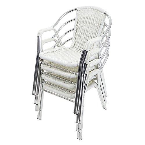 ガーデンチェア ガーデン チェア ラタンチェア 4脚セット 人工ラタンチェア ホワイト 籐 肘掛けカバー付き 家具 ファニチャー インテリア おしゃれ スタッキングチェア chair 椅子 チェア 南国 アジアン バリ風 リゾート カフェ ベランダ バルコ